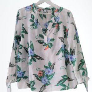 Tropical floral linen tunic blouse Old Navy